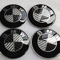 BMW Black Silver Carbon Fiber Emblem Badge Logo Wh
